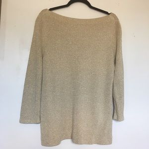 J. Crew, Gold Off-The-Shoulder Tunic Style Sweater